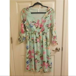 Mint Floral Chiffon Dress
